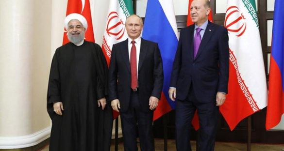 Лидеры РФ, Ирана и Турции приняли заявление по сирийскому урегулированию